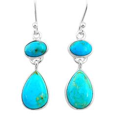 6.38cts blue arizona mohave turquoise 925 sterling silver dangle earrings t33974