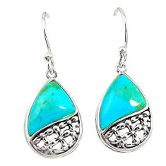 Blue arizona mohave turquoise 925 sterling silver earrings c23025