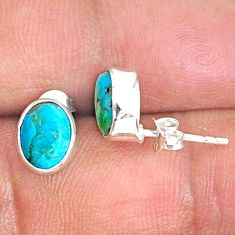 3.59cts blue arizona mohave turquoise 925 sterling silver stud earrings r83890