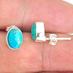 3.59cts blue arizona mohave turquoise 925 sterling silver stud earrings r83894