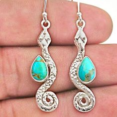 4.29cts blue arizona mohave turquoise 925 sterling silver snake earrings t40190