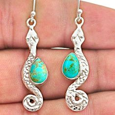 4.12cts blue arizona mohave turquoise 925 sterling silver snake earrings t40192