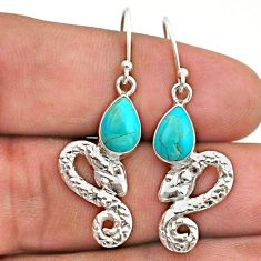 3.93cts blue arizona mohave turquoise 925 sterling silver snake earrings t40203