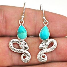 4.13cts blue arizona mohave turquoise 925 sterling silver snake earrings t40205