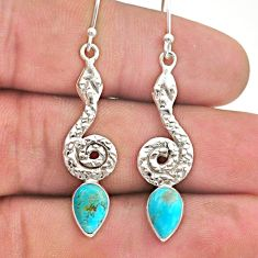 4.10cts blue arizona mohave turquoise 925 sterling silver snake earrings t40225