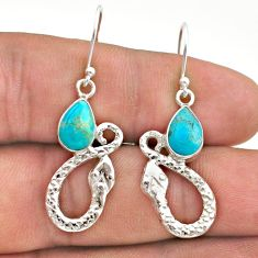 4.47cts blue arizona mohave turquoise 925 sterling silver snake earrings t40250