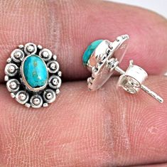 2.60cts blue arizona mohave turquoise 925 sterling silver stud earrings r55123