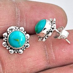 4.34cts blue arizona mohave turquoise 925 sterling silver stud earrings r55141