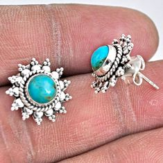 3.75cts blue arizona mohave turquoise 925 sterling silver stud earrings r55142