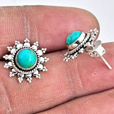 2.74cts blue arizona mohave turquoise 925 sterling silver stud earrings r55175