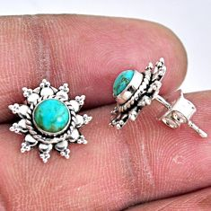 2.60cts blue arizona mohave turquoise 925 sterling silver stud earrings r55179