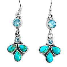 8.53cts blue arizona mohave turquoise topaz 925 silver dangle earrings r59723