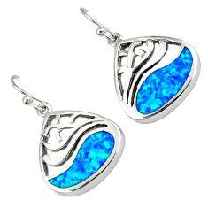 Blue australian opal (lab) 925 silver dangle earrings jewelry c15529