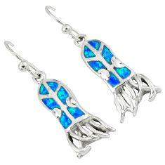 Blue australian opal (lab) 925 silver dangle octopus earrings c15555