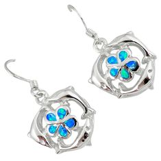 Blue australian opal (lab) 925 silver dolphin with flower earrings c15550