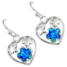 Blue australian opal (lab) 925 silver heart with flower earrings c15559