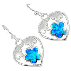 Blue australian opal (lab) 925 silver heart with flower earrings jewelry c15557