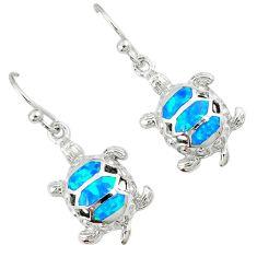 Blue australian opal (lab) 925 silver tortoise earrings jewelry c15563