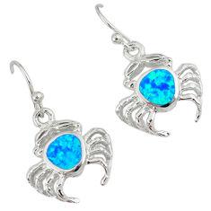 Blue australian opal (lab) 925 sterling silver crab earrings jewelry c15595