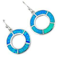 Blue australian opal (lab) 925 sterling silver dangle earrings c15533