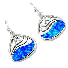 Blue australian opal (lab) 925 sterling silver dangle earrings c15525
