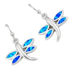 Blue australian opal (lab) 925 sterling silver dragonfly earrings c15545