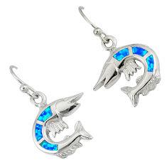 Blue australian opal (lab) 925 sterling silver fish charm earrings c15554
