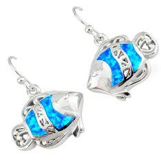 Blue australian opal (lab) 925 sterling silver fish earrings jewelry c15571