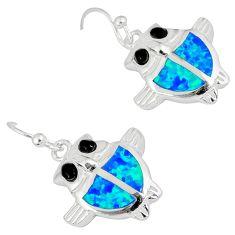 Blue australian opal (lab) black onyx 925 sterling silver owl earrings c15574
