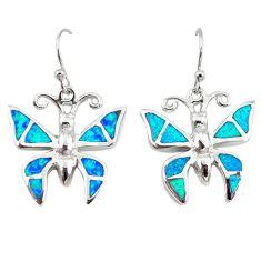 Blue australian opal (lab) enamel 925 silver butterfly earrings a73917 c24505