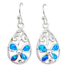 Blue australian opal (lab) enamel 925 silver dangle earrings a73910 c24501