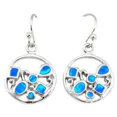 Blue australian opal (lab) enamel 925 silver dangle earrings jewelry c22380