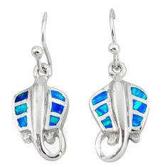 Blue australian opal (lab) enamel 925 silver dangle fish earrings c15556