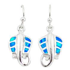 Blue australian opal (lab) enamel 925 silver fish earrings jewelry a73902 c24503