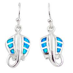 Blue australian opal (lab) enamel 925 silver fish earrings jewelry a73907 c24502