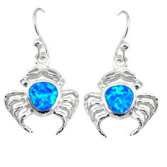 Blue australian opal (lab) enamel 925 silver scorpion earrings c22378