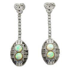 4.03cts blue australian opal (lab) topaz 925 sterling silver earrings c26375