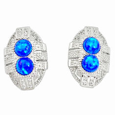 1.63cts blue australian opal (lab) white topaz 925 silver earrings a89061 c24522