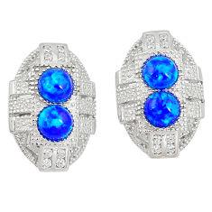 1.64cts blue australian opal (lab) white topaz 925 silver earrings a89074 c24516