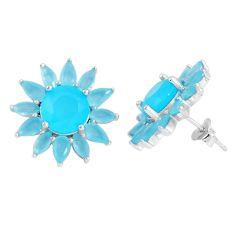 Blue chalcedony 925 sterling silver stud earrings jewelry c19366