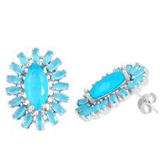Blue chalcedony 925 sterling silver stud earrings jewelry c19378