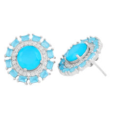 Blue chalcedony white topaz 925 sterling silver stud earrings c19374