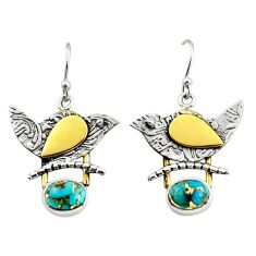 4.20cts blue copper turquoise 925 silver 14k gold dangle earrings jewelry r37243