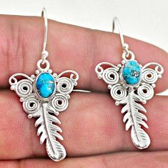 3.14cts blue copper turquoise 925 silver dangle feather earrings jewelry t46956