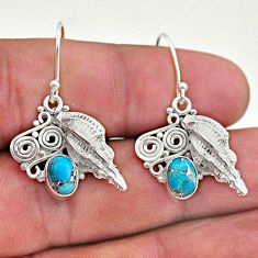 3.28cts blue copper turquoise 925 silver dangle seashell earrings jewelry t46947