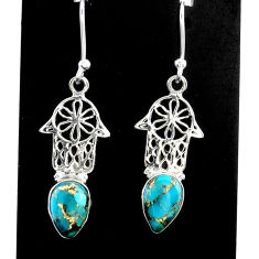 4.26cts blue copper turquoise 925 silver hand of god hamsa earrings t37393
