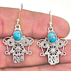 3.58cts blue copper turquoise 925 silver hand of god hamsa earrings t46950