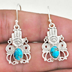 3.41cts blue copper turquoise 925 silver hand of god hamsa earrings t46953