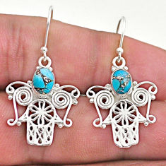 2.97cts blue copper turquoise 925 silver hand of god hamsa earrings t46965