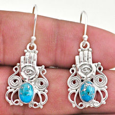 3.54cts blue copper turquoise 925 silver hand of god hamsa earrings t46974